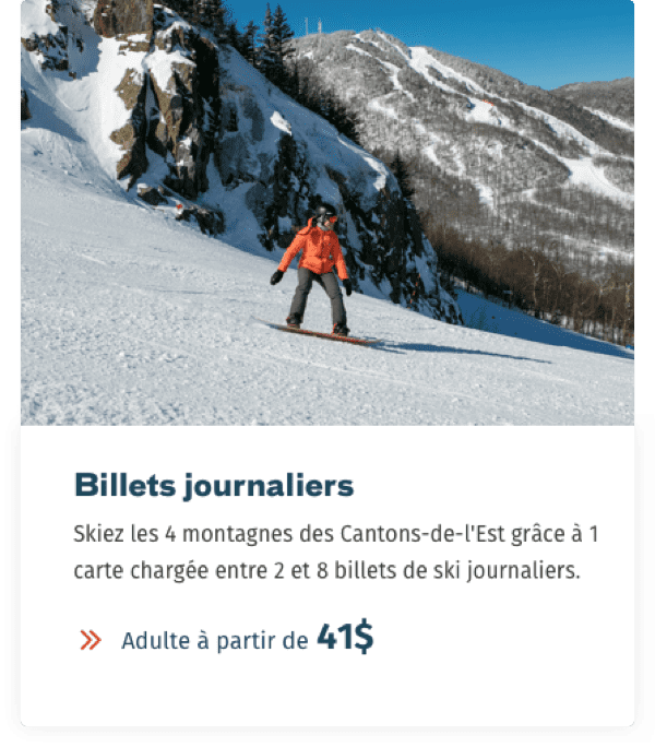 Website Mont-Orford billet journalier