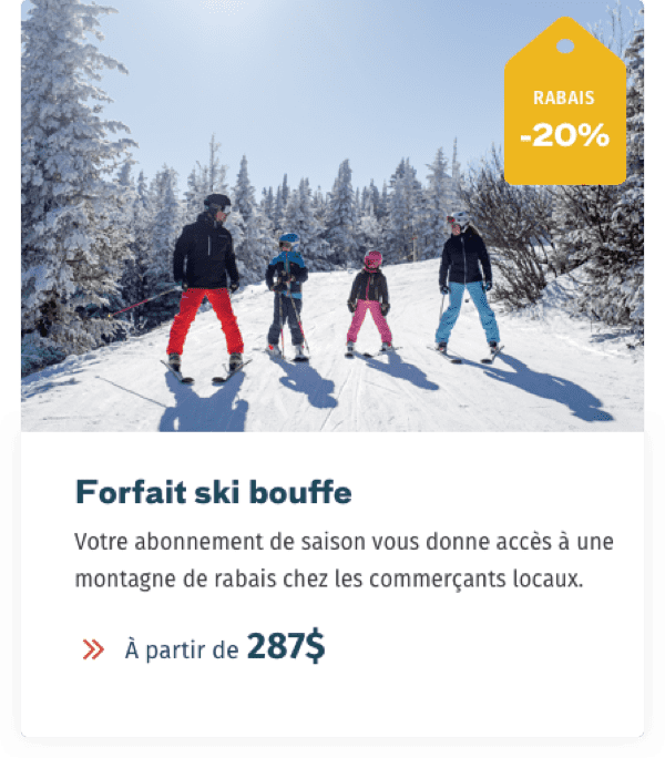 Website Mont-Orford forfait ski bouffe