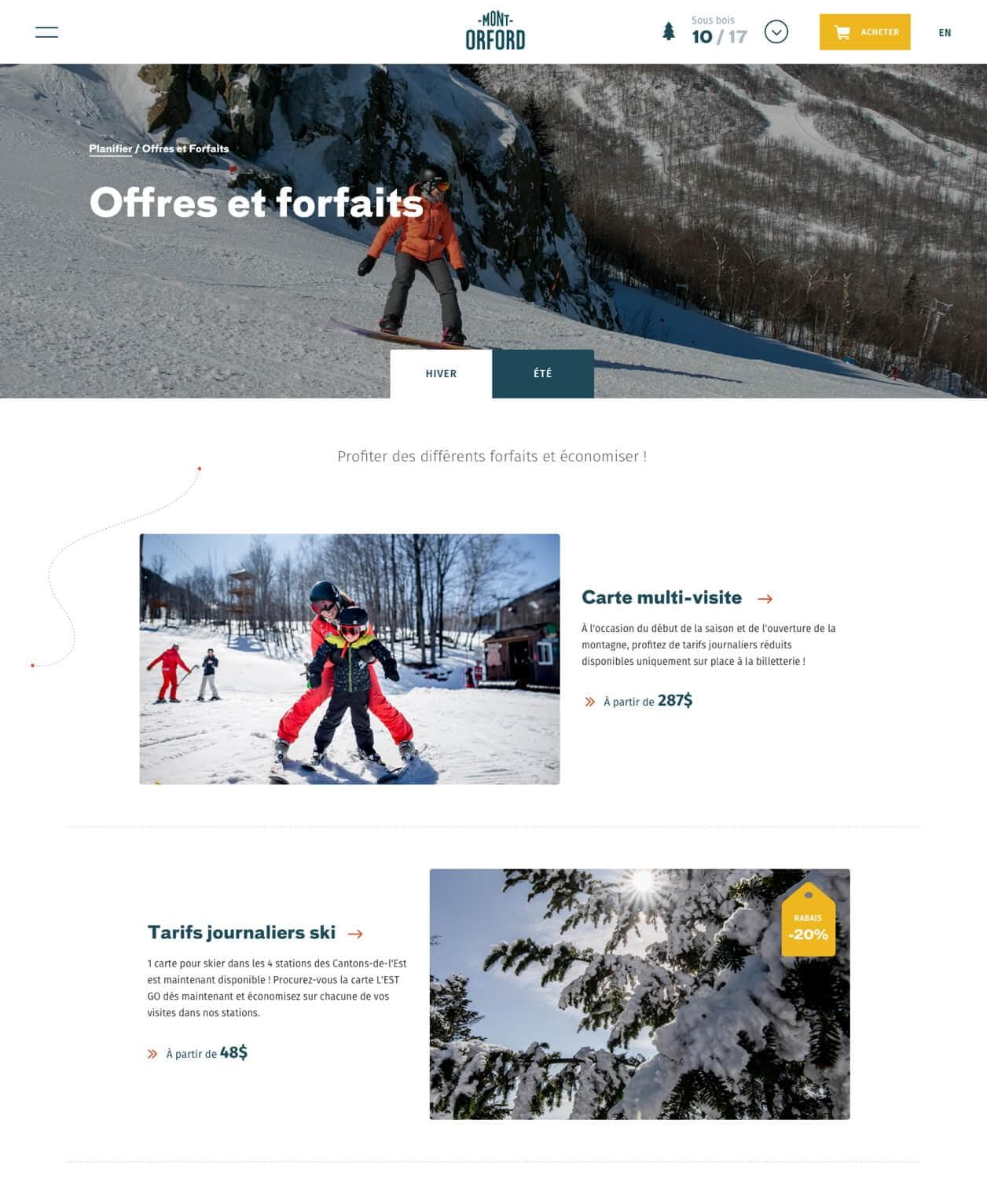 Website Mont-Orford forfait