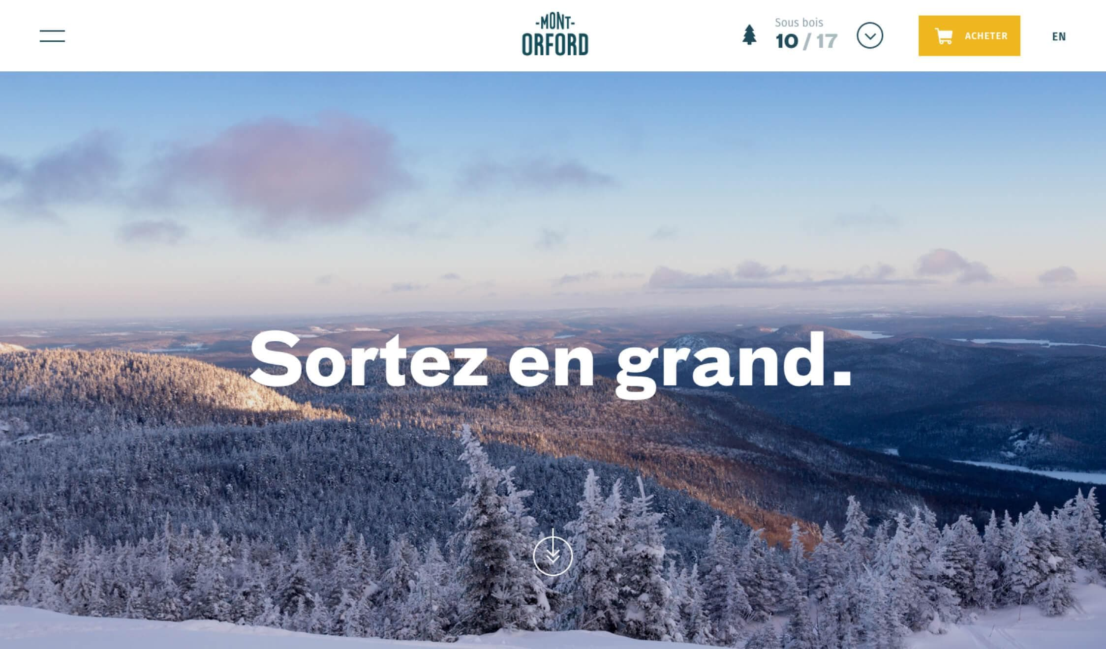 Website Mont-Orford page d'accueil